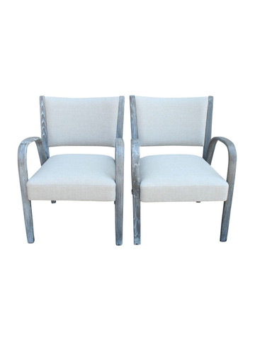 Pair French Mid Century Arm Chairs 31389