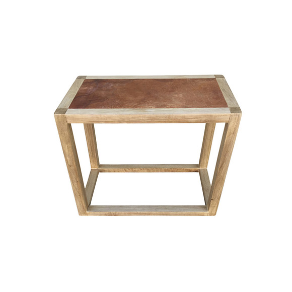Limited Edition Oak and Leather Top Side Table 32058