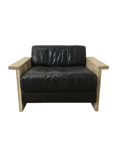 Single Large Scale Limited Edition Danish Black Leather and Oak Arm Chair 36508