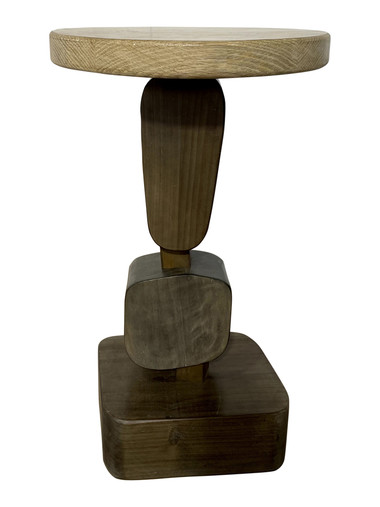Limited Edition Modernist Oak with Bronze Side Table 36646