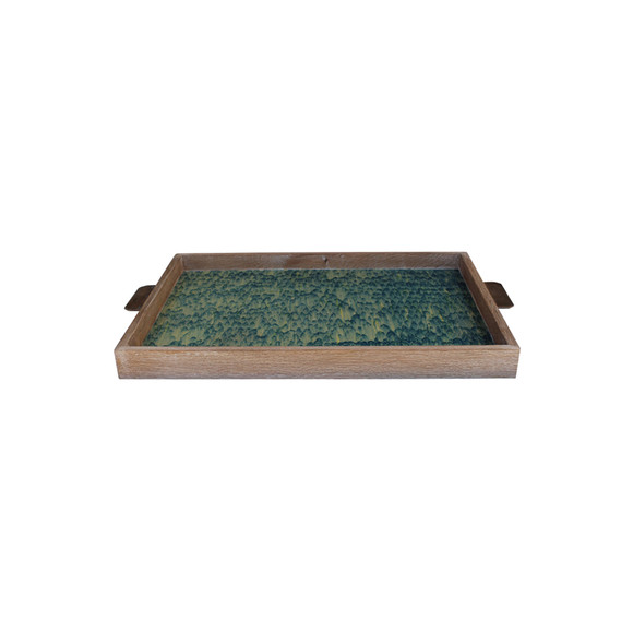 Limited Edition Oak And Vintage Marbleized Paper Tray 24847