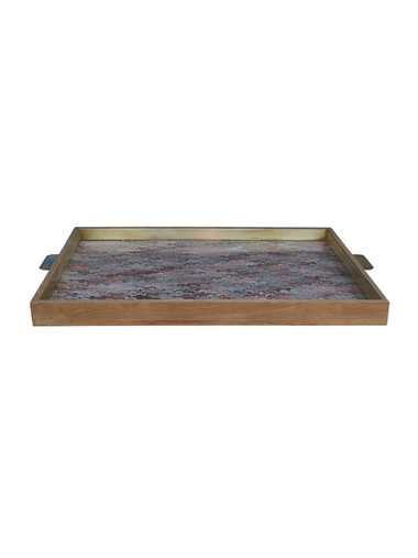 Limited Edition Oak and Vintage Marbleized Paper Tray 25081