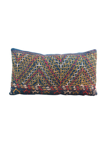 19th Century African Indigo Embroidered Textile Pillow 31311