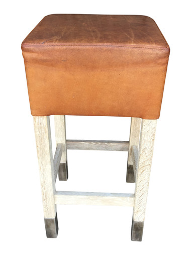 Belgian Saddle Leather and Oak Stool 30222