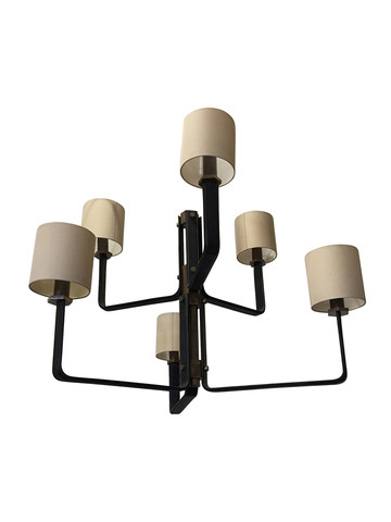 Limited Edition Leather and Bronze Chandelier 32594