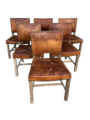 Set of (6) Danish Leather Dining Chairs 35345