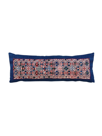 Limited Edition Turkish Embroidery on Striped HomeSpun Linen Lumbar Pillow 25944