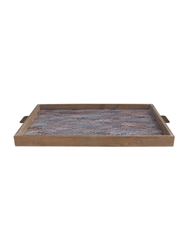 Limited Edition Oak And Vintage Marbleized Paper Tray 36106