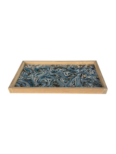 Limited Edition Oak Tray With Vintage Marbleized Paper 34136
