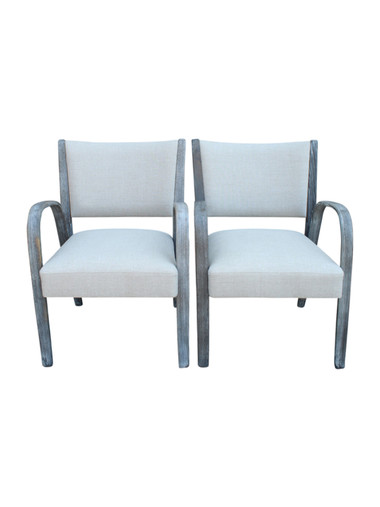 Pair French Mid Century Arm Chairs 33911