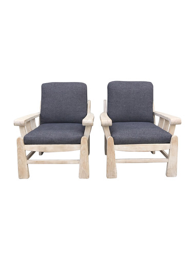 Pair of French Oak Arm Chairs 34309