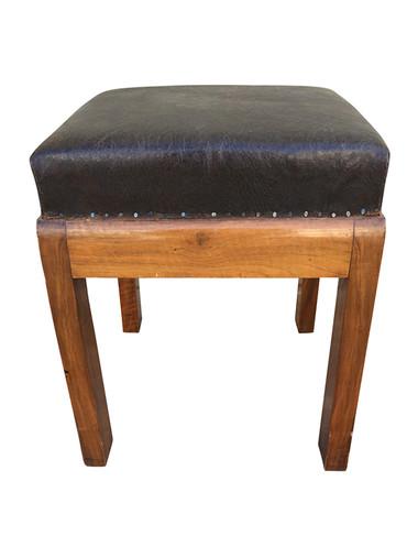 Leather Top Walnut Stool 33166