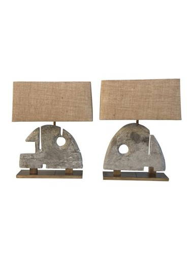 Pair of Limited Edition Modernist Wood Element Lamps 35684
