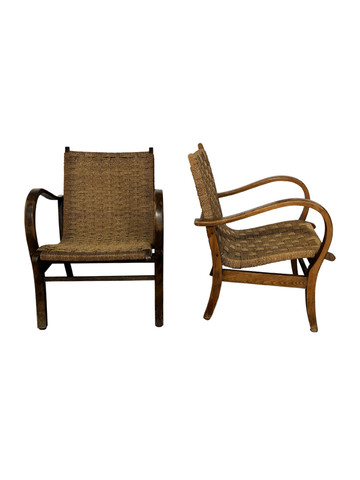 Pair of French Oak and Rope Chairs 36585