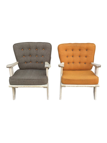 Pair of Guillerme et Chambron Oak Arm Chairs 36257