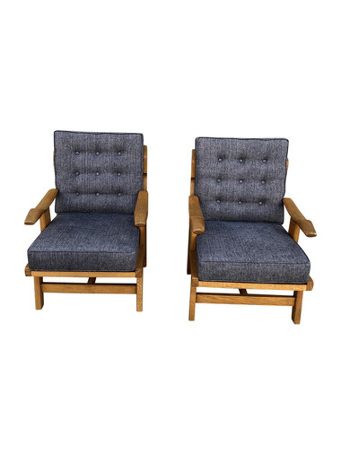 Pair French Mid Century Oak Chairs 35073