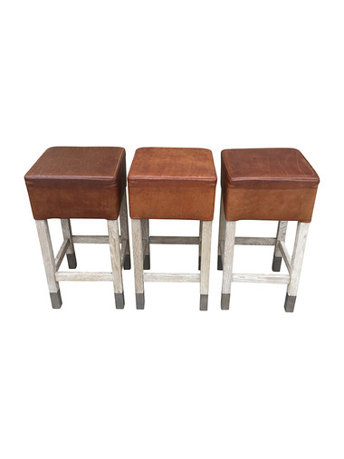 Set of (3) Belgian Leather and Oak Stools 31642