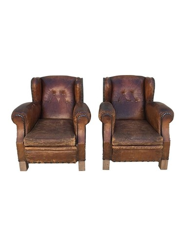 Pair of French 1940's Club Chairs 34789