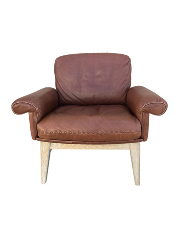 Limited Edition DeSede Vintage Leather and Oak Arm Chairs 38177