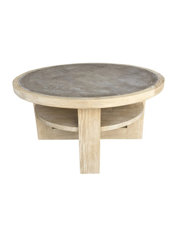 Lucca Studio Dubin Oak and Cement Top Coffee Table 36052