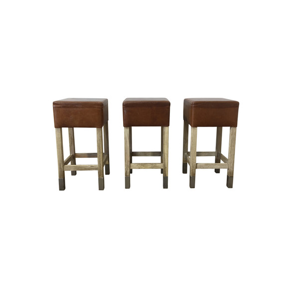 Set of (3) Belgian Leather and Oak Stools 36308