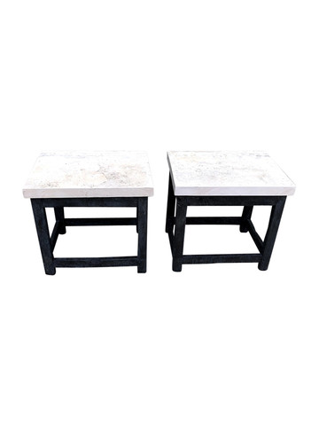 Pair of Walnut and Stone Top Side Tables 35472