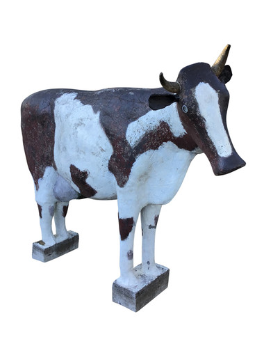 Rare Cubist French 1950's Life Size Cement Cow 34522