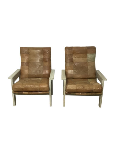 Pair of Limited Edition Oak and Vintage Leather Arm Chairs 36297