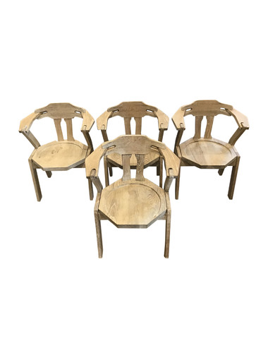 Set of (4) French Mid Century Dining Chairs 35634