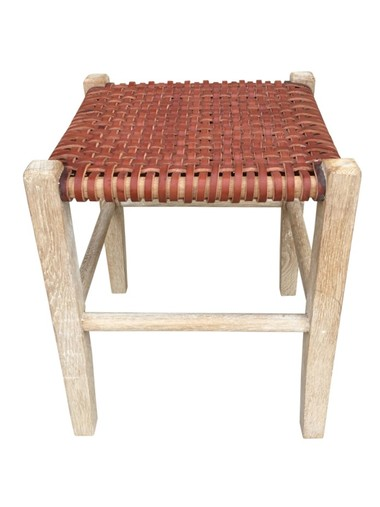Limited Edition Woven Leather Stool 36076