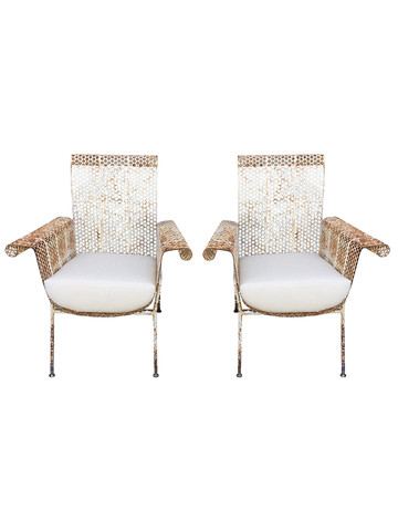 Pair MId Century French Iron Arm Chairs 33718