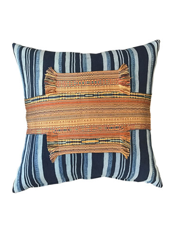 Antique African Striped Indigo and Moroccan Element Textile Pillow 37488