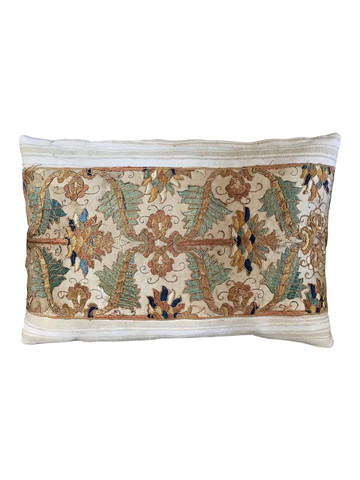 Rare French 18th Century Silk Embroidery Textile Pillow 34825
