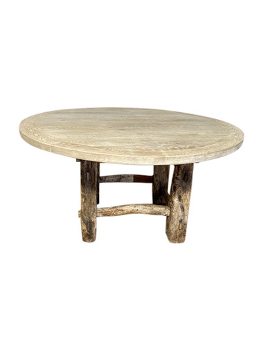 Limited Edition Oak and Primitive Element Base Dining Table 36797