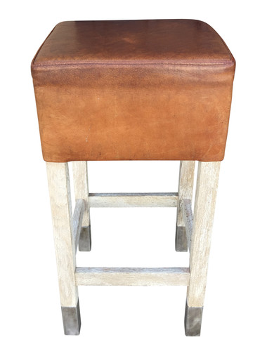 Belgian Saddle Leather and Oak Stool 30223