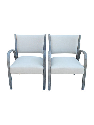 Pair French Mid Century Arm Chairs 27500