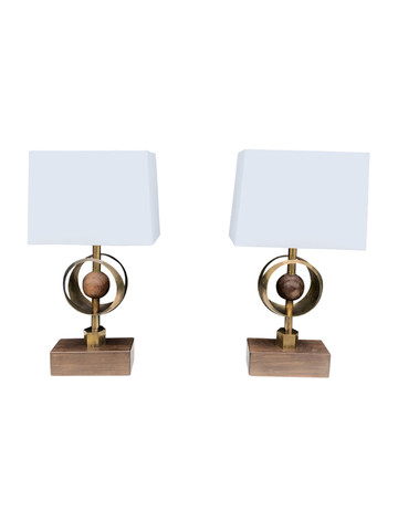 Pair of Limited Edition Walnut and Bronze Lamps 35463
