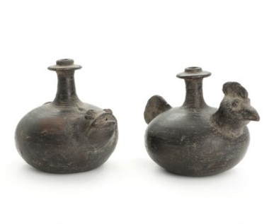 (2) 19th Century Indonesian Black Pottery Vessels 35452