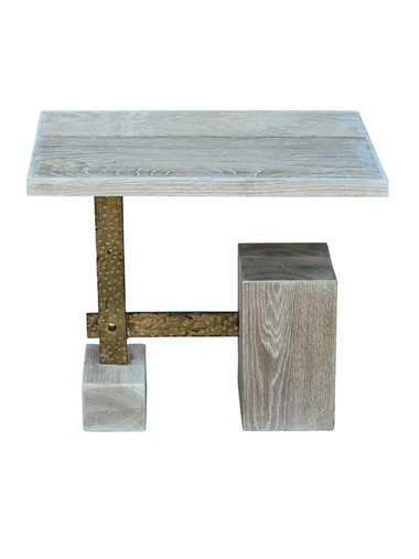 Limited Edition Modernist Oak and Brass Side Table 27941