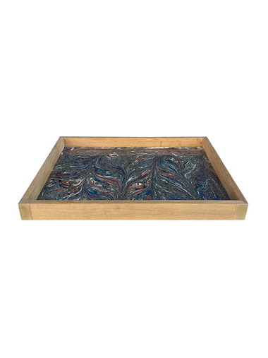Limited Edition Oak Tray With Vintage Marbleized Paper 34576