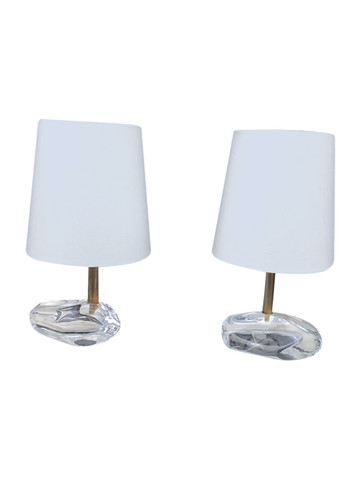 Pair of Table Lamps with Vintage Italian Glass Bases 35387