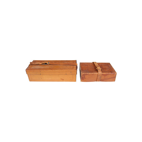 Pair of French Saddle Leather Boxes 31482