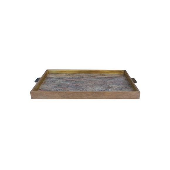 Limited Edition Oak And Vintage Marbleized Paper Tray 31378