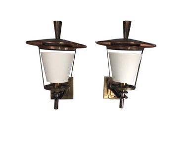 Pair French Bronze Large Lantern/Sconces 35618