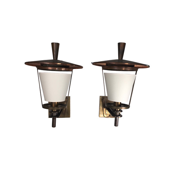 Pair French Bronze Large Lantern/Sconces 24921
