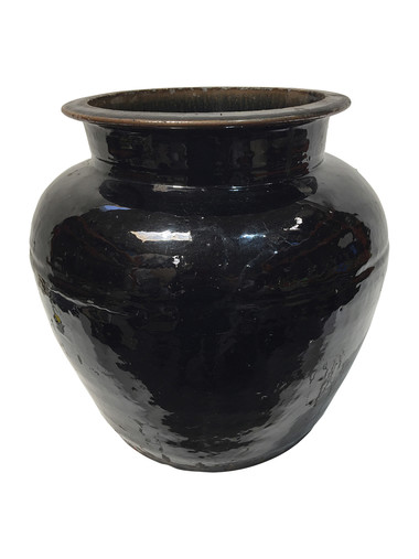 Large Black Glazed Ceramic Vessel from Central Asia 35091