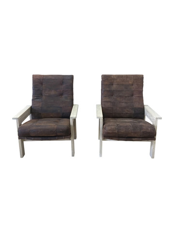 Pair of Limited Edition Oak and Vintage Leather Arm Chairs 36736