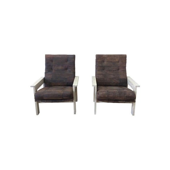 Pair of Limited Edition Oak and Vintage Leather Arm Chairs 38122