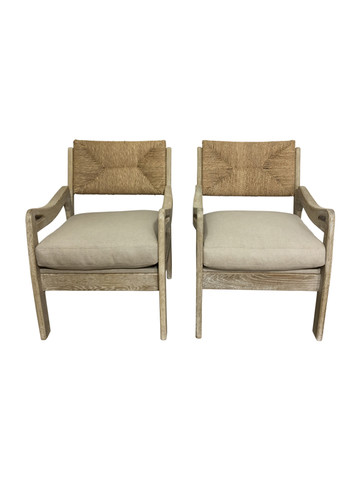 Pair of Limited Edition Woven Oak Arm Chairs 37217