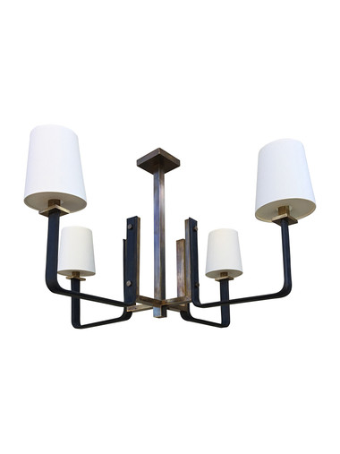 Limited Edition Leather and Bronze Chandelier 34448
